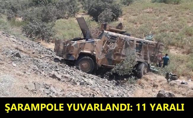 Görevden dönen askerleri taşıyan 'kirpi' aracı devrildi: 11 yaralı
